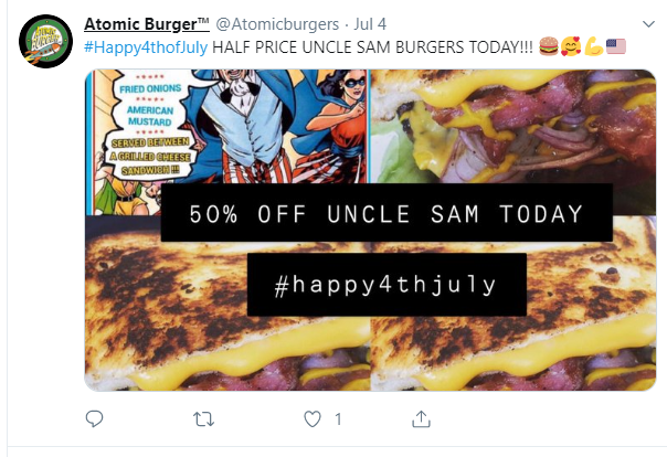 atomic burger special event one-off-deal